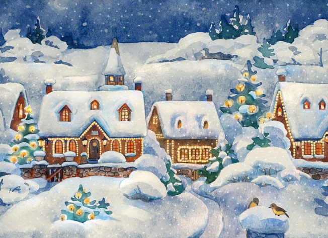 A Christmas card that shows a winter village