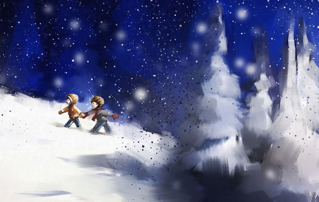 digital painting of girl and boy walking in winter outdoor