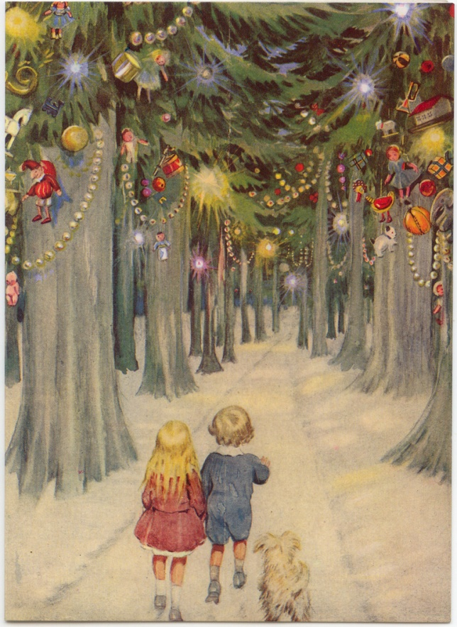 boy-girl-in-decorated-forest-christmas-card