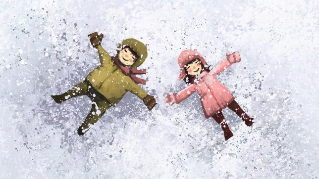 boy and girl happy in winter outdoor, digital painting illustration