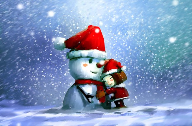 digital painting of cute girl with snowman in wintertime
