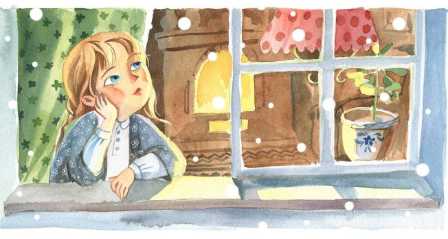 Watercolor illustration. Front view of the little girl, who looks through the window to the street in the warm room with curtain and fireplase. The indors scene